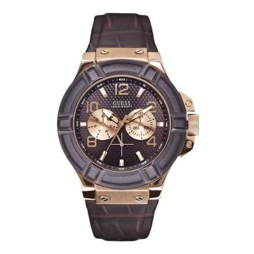 Guess Herren-Armbanduhr Analog Quarz Leder W0040G3