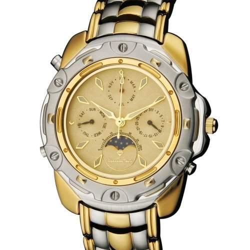 Yves Camani Herrenuhr Quarz Mineralglas PLATON Mondphase gold 556-G-G-BI