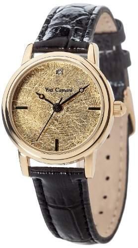 Yves Camani Damenuhr Quarz Lederarmband Mineralglas GIRONDE goldschwarz YC1045