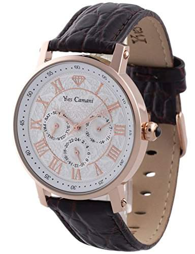 Yves Camani Herrenuhr Quarz Edelstahlgehaeuse Lederarmband Mineralglas BAROCCO braun YC1001-H