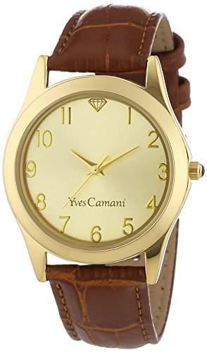 Yves Camani Damenuhr Quarz Lederarmband Mineralglas DURANCE goldbraun YC1058-C