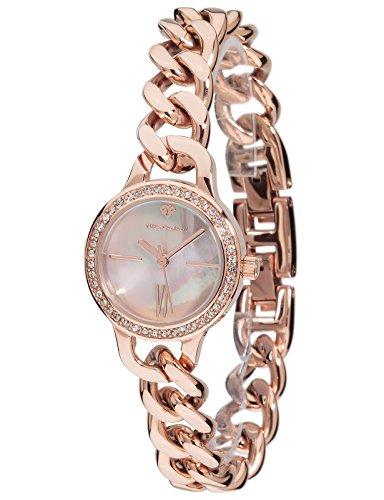 Yves Camani Damen Armbanduhr Burgaudine mit hochwertigem Edelstahl Gehaeuse und ein Zifferblatt aus Perlmutt Elegante Quarz Damen Uhr mit steinbesetzer Luenette und rosegoldenem Edelstahl Armband