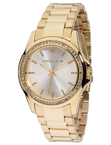 Yves Camani Damen Armbanduhr Montpellier mit goldenem Edelstahlgehaeuse und Steinbesetzer Luenette Klassische Quarz Damen Uhr mit goldenem Edelstahl Armband