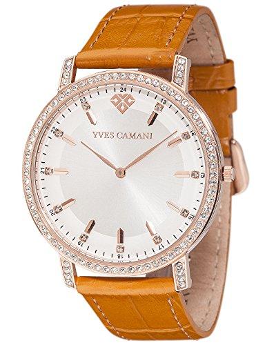 Yves Camani Damen Armbanduhr Mayenne mit braunem Lederarmband und hochwertigem Edelstahlgehaeuse Klassische Quarz Uhr mit Steinbesetzer Luenette Gehaeuse und Zifferblatt