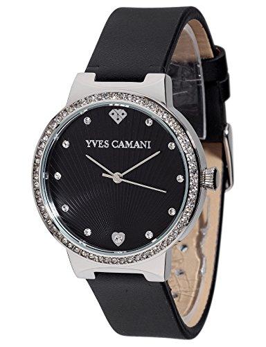 Yves Camani Damen Armbanduhr Toulon mit schwarzem steinbesetzem Zifferblatt und silbernem Edelstahl Gehaeuse Klassische Quarz Damen Uhr mit steinbesetzer Luenette sowie schwarzem Leder Armband
