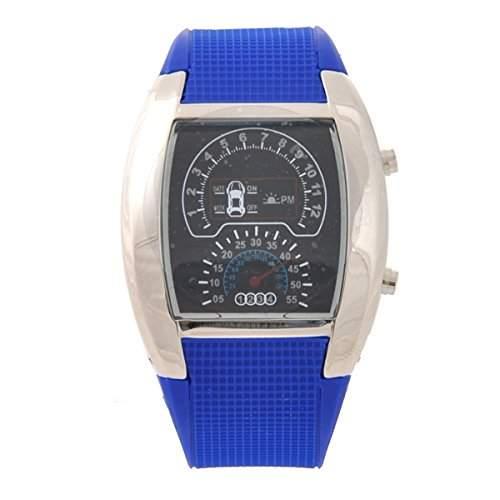 LEORX wasserdichte binaere LED Blaulicht Punktmatrix Auto Meter Dial Unisex Aviation Armbanduhr blau