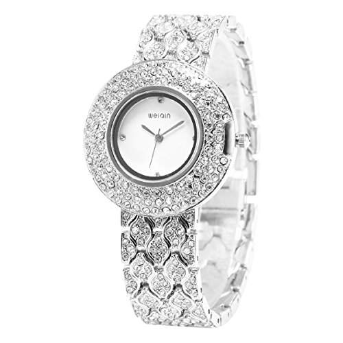 LEORX WEIQIN Damen Strass Decor Runde Zifferblatt Armband Armreif Quarz Armbanduhr Silber