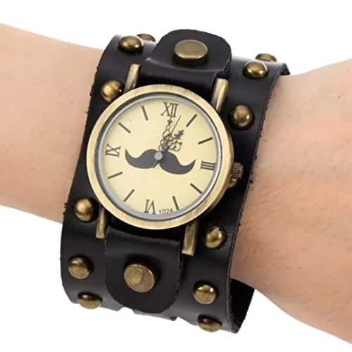 Tangda Herren Damen Unisex Armbanduhr Hip-hop Gothic Punk Stil Armband Uhr Quarz-Uhren Weiter Lederarmband Watch - Schwarz