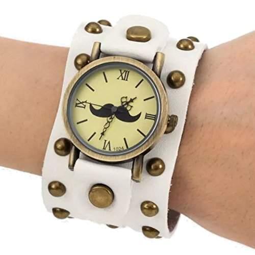 Tangda Herren Damen Unisex Armbanduhr Hip-hop Gothic Punk Stil Armband Uhr Quarz-Uhren Weiter Lederarmband Watch - Weiss