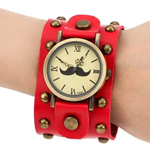 Tangda Herren Damen Unisex Armbanduhr Hip-hop Gothic Punk Stil Armband Uhr Quarz-Uhren Weiter Lederarmband Watch - Rot