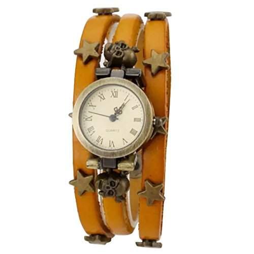 Tangda Damen Armbanduhr Frauen Retro Hip-hop Gothic Punk Stil Quarzuhr drei Lederarmband mit Stern Drucken Damenuhr Wrist Watch - Gelb