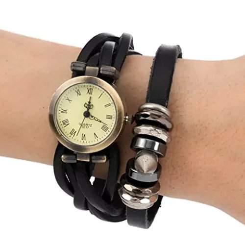 Tangda Frauen Armbanduhr Retro Neu Design Retro Hip-hop Punk Quarzuhr Lederarmband Damenuhr Armband Uhren Women Wrist Watch - Schwarz