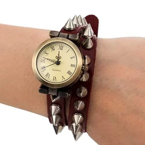 Tangda Damen Armband Uhr Retro Hip-hop Punk Quarzuhr Lederarmband Niet Muster Armbanduhr Wrist Watch Damenuhr - Rot