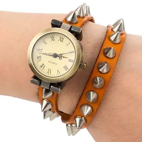 Tangda Damen Armband Uhr Retro Hip-hop Punk Quarzuhr Lederarmband Niet Muster Armbanduhr Wrist Watch Damenuhr - Gelb