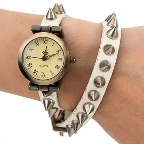 Tangda Damen Armband Uhr Retro Hip-hop Punk Quarzuhr Lederarmband Niet Muster Armbanduhr Wrist Watch Damenuhr - Weiss