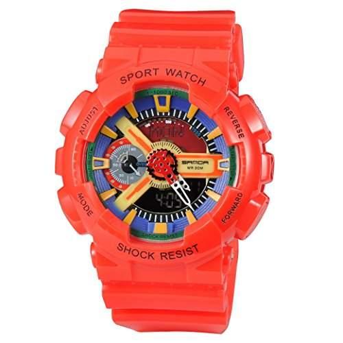 Tangda Damen Herren Unisex Armbanduhr Wsserdicht Elektronische Sport Armband Uhren Wandern Multifunktionen Quarzuhr Wrist Watch - Rot