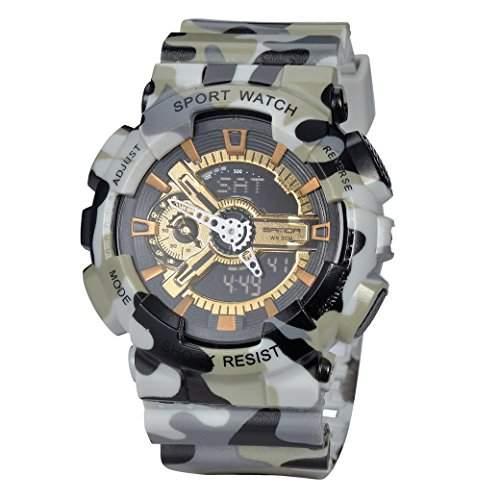 Tangda Damen Herren Armbanduhr Wsserdicht Elektronische Sport Armband Uhren Wandern Multifunktionen Quarzuhr Wrist Watch Camouflage Reihe - Grau und Weiss