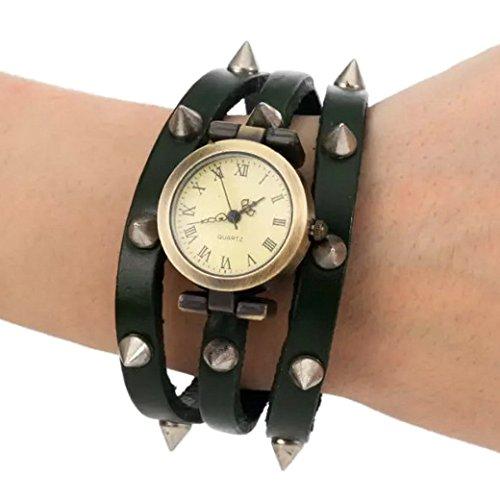 Tangda Retro Hip hop Punk Stil Armband Uhr Quarzuhr drei Lederarmband Wrist Watch Gruen