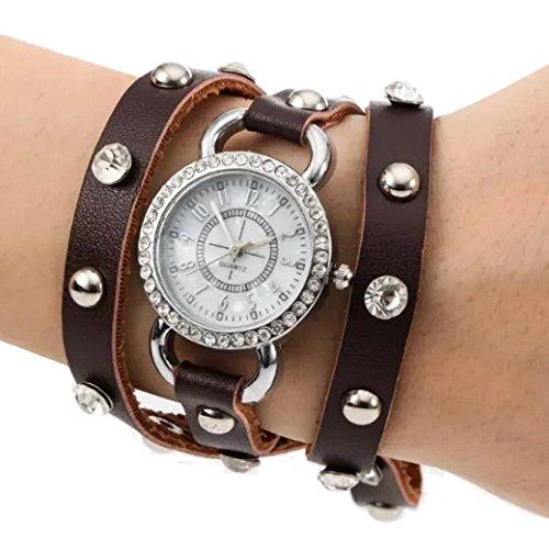 Tangda Damen Armband Uhr Retro Hip hop Punk Quarzuhr Lederarmband Armbanduhr Wrist Watch Braun