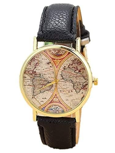 Thalia World Map Watch Mode Weltkarte Karte Damen Armbanduhr Analog Quarz Lederband Damenuhr Schwarz  Gold Black