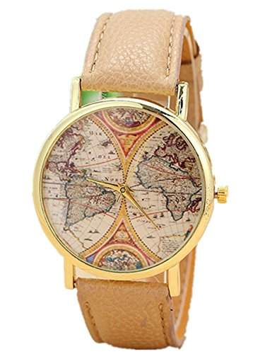 Thalia World Map Watch Mode Weltkarte Karte Damen Armbanduhr Analog Quarz Lederband Damenuhr Beige  Gold