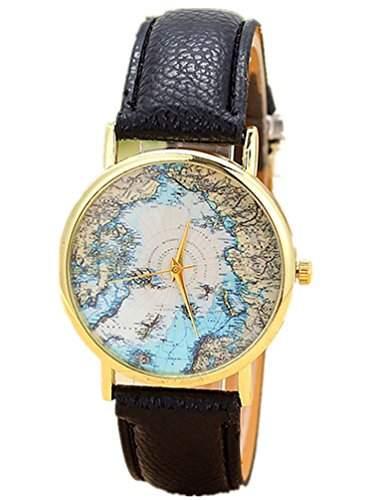 Thalia World Sea Map Watch Mode Welt Seekarte Damen Armbanduhr Analog Quarz Lederband Damenuhr Schwarz  Gold Black