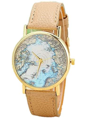Thalia World Sea Map Watch Mode Welt Seekarte Damen Armbanduhr Analog Quarz Lederband Damenuhr Beige  Gold Beige