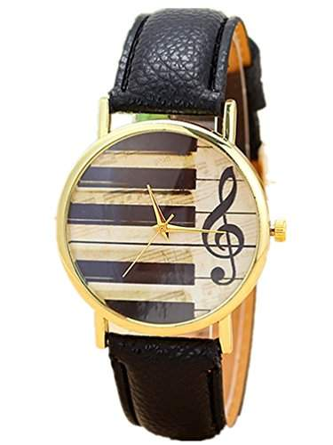 Thalia Musical Note Piano Watch Mode Musikklavier Notiz Damen Armbanduhr Analog Quarz Lederband Damenuhr Braun  Gold Brown