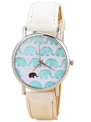 Thalia Elephants Watch Mode Elefanten Damen Armbanduhr Analog Quarz Lederband Damenuhr Weiss  Splitter White
