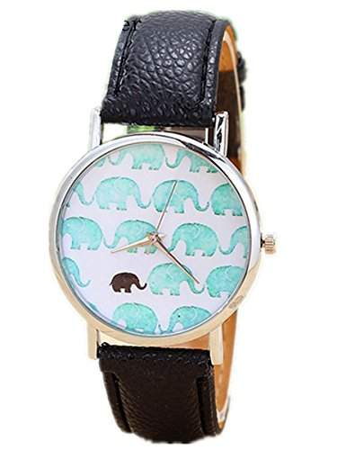 Thalia Elephants Watch Mode Elefanten Damen Armbanduhr Analog Quarz Lederband Damenuhr Schwarz  Splitter Black