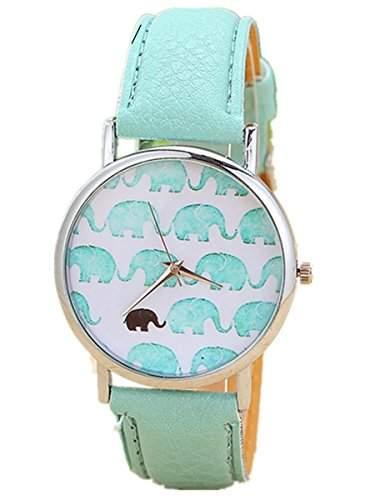 Thalia Elephants Watch Mode Elefanten Damen Armbanduhr Analog Quarz Lederband Damenuhr Heeblau  Splitter Light Blue