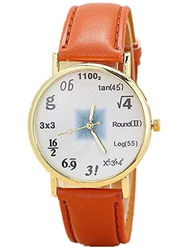 Thalia Numbers Symbol Watch Mode Zahlen Symbol Damen Armbanduhr Analog Quarz Lederband Damenuhr Braun  Gold Brown