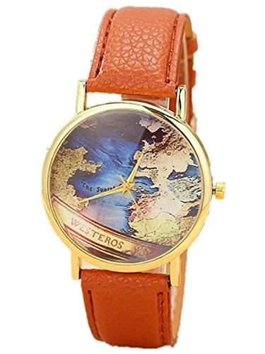Thalia World Westeros Map Watch Mode Weltkarte Karte Damen Armbanduhr Analog Quarz Lederband Damenuhr Braun  Gold Brown