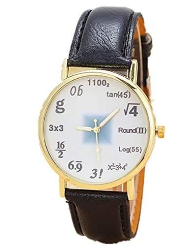 Thalia Numbers Symbol Watch Mode Zahlen Symbol Damen Armbanduhr Analog Quarz Lederband Damenuhr Schwarz  Gold Black