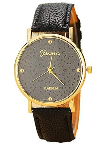 Thalia Flower Watch Mode Blume Damen Armbanduhr Analog Quarz Lederband Damenuhr Schwarz  Gold Black