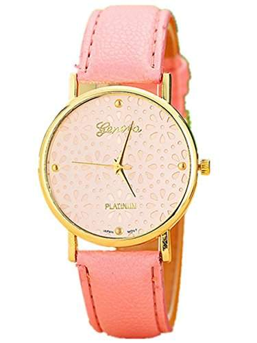 Thalia Flower Watch Mode Blume Damen Armbanduhr Analog Quarz Lederband Damenuhr Pink  Gold