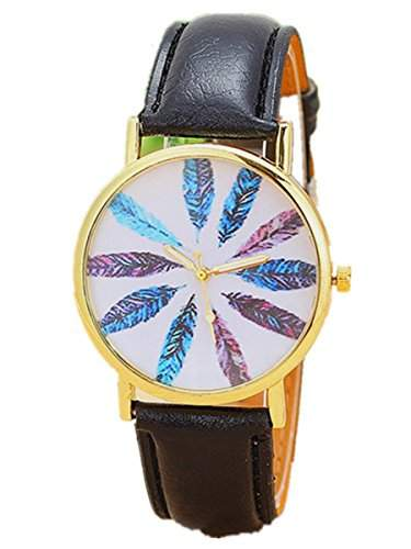 Thalia Multi-color Feather Watch Mode Mehrfarben-Feder Damen Armbanduhr Analog Quarz LederDamenuhr Schwarz  Gold Blac