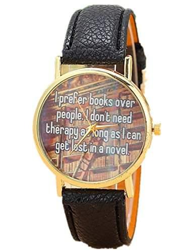 Thalia I prefer books over people  Watch Mode Damen Armbanduhr Analog Leder Damenuhr Schwarz  Gold Black