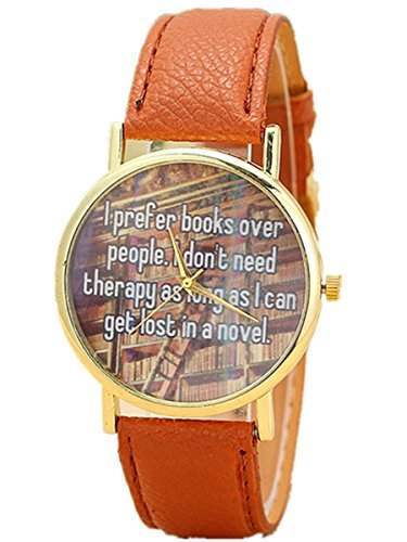 Thalia I prefer books over people  Letter Watch Mode Damen Armbanduhr Analog Quarz Lederband Damenuhr Braun  Gold Brown