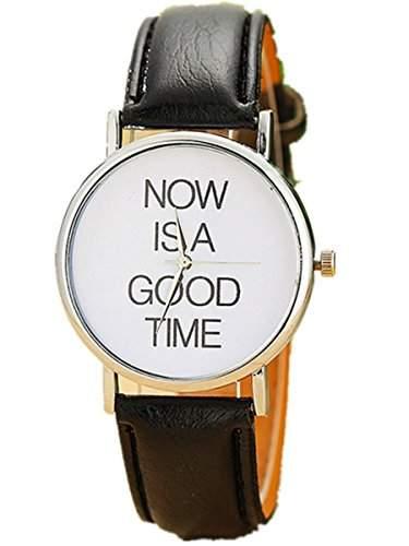 Thalia  NOW IS A GOOD TIME  Watch Mode Damen Armbanduhr Analog Quarz Lederband Damenuhr Schwarz  Splitter Black
