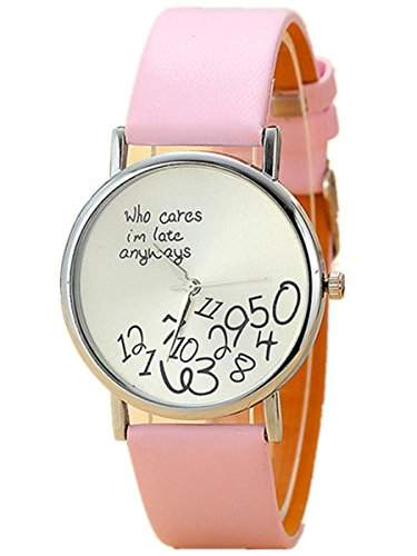 "Thalia "" Who cares Im late anyway "" Numbers Watch Mode Nummern Damen Armbanduhr Leder Damenuhr Rosarot  Splitter Pink"