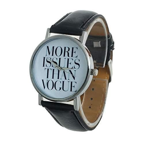 Thalia  MORE ISSUES THAN VOGUE  Watch Mode Damen Armbanduhr Analog Quarz Lederband Damenuhr Schwarz  Splitter Black