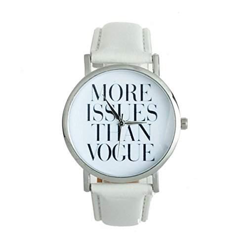 Thalia  MORE ISSUES THAN VOGUE  Watch Mode Damen Armbanduhr Analog Quarz Lederband Damenuhr Weiss  Splitter White