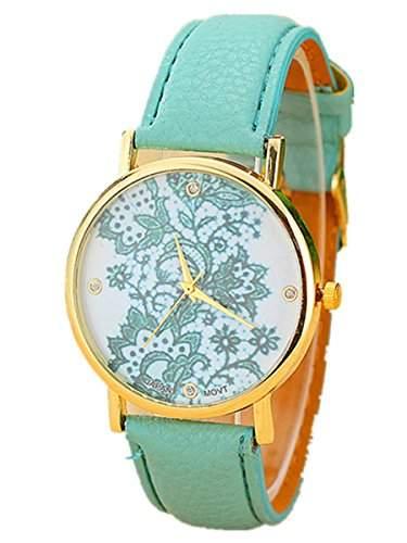Thalia Lace Watch Mode Spitzenborte Damen Armbanduhr Analog Quarz Lederband Damenuhr Mint Green  Gold