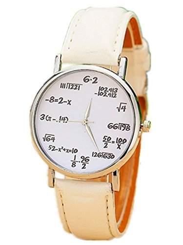 Thalia Numbers Symbol Watch Mode Zahlen Symbol Damen Armbanduhr Analog Quarz Lederband Damenuhr Weiss  Splitter White