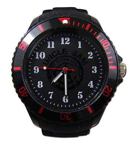 Uncle Sam Armbanduhr Stars n Stripes Edition Schwarz Rot Edel Watch Uhren Unclesam Arm Band Uhr