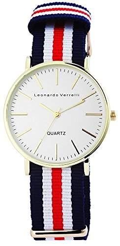 Leonardo Verrelli Herrenuhr Textil Armbanduhr Ø 40mm Silber Gold Mehrfarbig - 297232100001