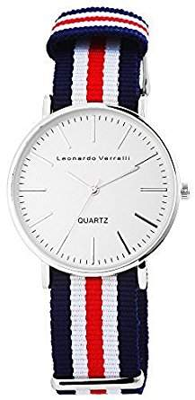 Metall silber Stoff blau rot Quarz Herrenuhr Armbanduhr Uhr Herren Stoffband Leonardo Verrelli 7220