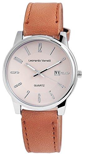 Leonardo Verrelli Unisex analog Armbanduhr mit Quarzwerk 297127500003 Metallgehaeuse mit Kunstleder Armband in Hellbraun und Dornschliesse Ziffernblattfarbe Beige Bandlaenge 23 cm Armbandbreite 20 mm