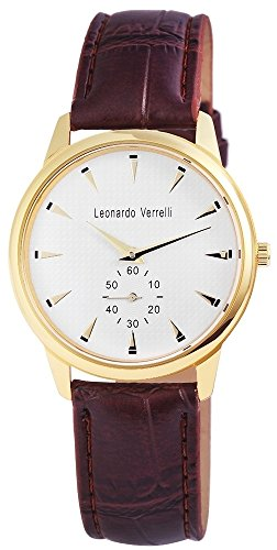 Leonardo Verrelli Unisex analog Armbanduhr mit Quarzwerk 197302500001 Metallgehaeuse mit Kunstleder Armband in Braun und Dornschliesse Ziffernblattfarbe Weiss Bandgesamtlaenge 24 cm Armbandbreite 20 mm